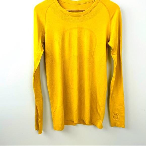 NWOT Mustard yellow Lululemon Swiftly Tech shirt!